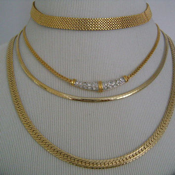 Fabulous Collection 4 Piece Lot of Vintage Jewelry Flat Herringbone Chain Mesh Gold Tone Plated Metal & Rhinestone Choker Reverse Necklaces