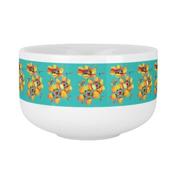 Elegant Orange Flowers - Aqua Soup Mug