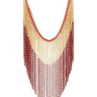 Red Threaded & Dip-Dyed Fringe Necklace by Charlotte Russe