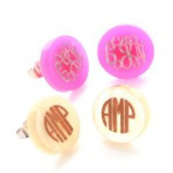 Monogrammed Acrylic Stud Earrings