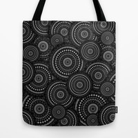 Black and White Mandala Pattern Tote Bag by Hippy Gift Shop