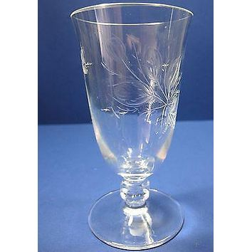Rosenthal port /sherry glass Rose moss Hand engraved / cut signed