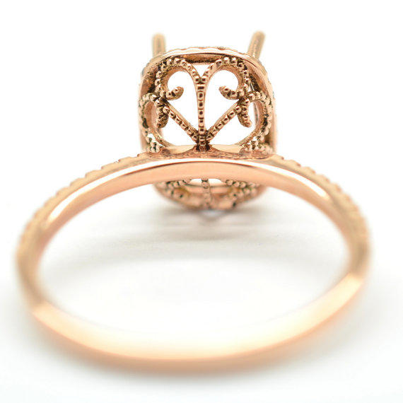 Semi mount gold ring here in rose gold from ReneJewelry on Etsy