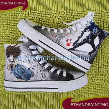 Death Note Canvas Shoes not Converse, Ryuuzaki Sneakers, Ryuuku Shoes, Hand Painted Ca