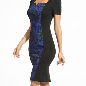 Streetstyle  Casual Square Neck Split Paisley Bodycon Dress