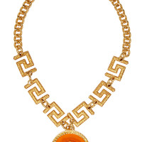 Versace Gold And Orange Pendant Necklace