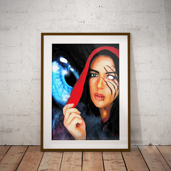 Little Dead Red Riding Hood Wolf Dark Gothic Fairy Tail Wall Art Print