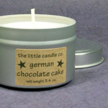 German Chocolate Cake Soy Candle Tin - Hand Poured and Highly Scented Container Candles