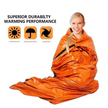 WorthWhile Emergency Blanket Sleeping Bag Outdoor Camping Hiking Waterproof Sunproof Rescue Shelter Foldable Survival Equipment