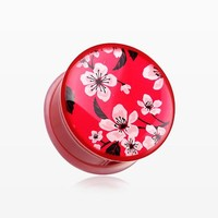 A Pair of Sakura Cherry Blossom Single Flared Plug