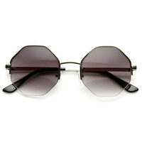 Womens Trendy Retro Octagon Metal Fashion Sunglasses 9127