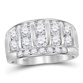 14kt White Gold Men's Round Channel-set Diamond Striped Wedding Band Ring 2.00 Cttw - FREE Shipping (US/CAN)