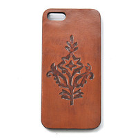 Boho Phone Case, Leather Phone, Indie Fashion Accessories, Stamped Leather Phone Accessories, Royal Flower Case for Iphone 5 (IP53BN003)