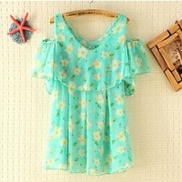 Mint Sweet Flowers Chiffon Strapless Fold Shirt Tops