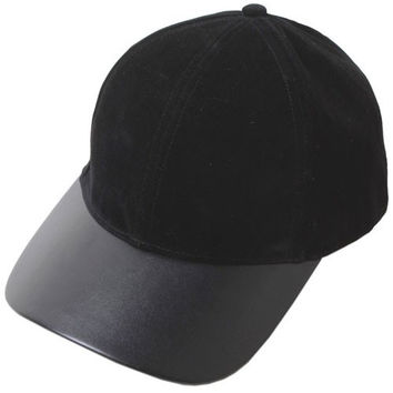 Velvet & Vegan Leather Weekend Baseball Hat - Black