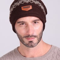 Coffee Letter Faux Patched Knitted Beanie