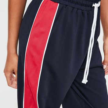 Missguided - Navy Side Stripe Wide Leg Joggers