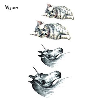 WYUEN Horse Cat Women Temporary Tattoo Sticker Waterproof Fashion Fake Body Art Animal Tattoos 10.5X6cm Kids Hand Tatoo A-045