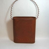 Oval Shaped, Rusty Tin Hanging Basket with Rusty Curly Wire Handle, Primitive, DIY, Crafts or Decorating
