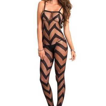 Sheer chevron bodystocking in BLACK
