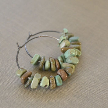 Turquoise Stone Hoops, Stone Earrings, Green Brown Turquoise, Oxidized Sterling Silver Hoops, Rustic Earthy, Boho Beach Earrings