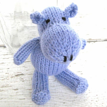"Little Hand Knit Stuffed Hippo - Ready To Ship - Stuffed Animal Child Toy - Newborn Photo Prop - Baby Stuffed Toy Purple Hippo 6 1/2"" Tall"
