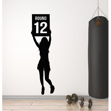 Vinyl Wall Decal Boxing Ring Sexy Woman Card Martial Sport Stickers Mural (g702)