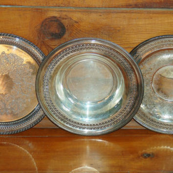 Set of 3 Silver Trays, Silver Bowls, Silver Platter, Serving, Silver Plate, Wedding Decor, Table Settings, Dining, Entertaining, Home Decor