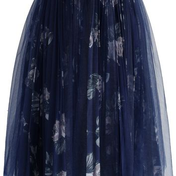 Rose Bouquet Pleated Tulle Skirt in Dark Blue