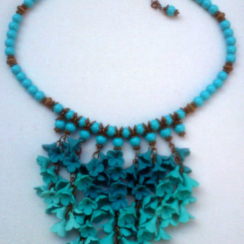 Ombré jewelry - Polymer jewelry - Turquoise necklace and earrings - Floral jewelry