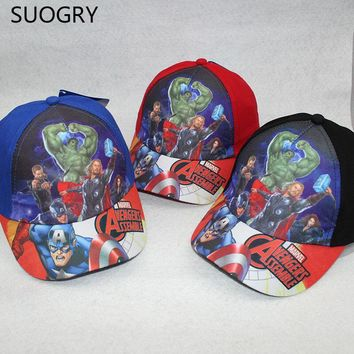 Cartoon animation Iron man Thor Hulk Flash Marvel's The Avengers super heroes baseball sport cap hat for kids boys free shipping