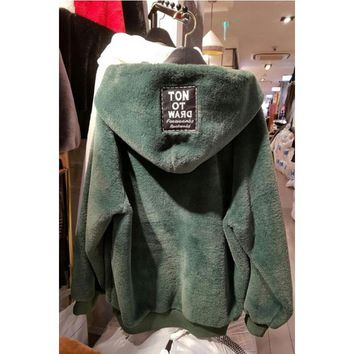 Women'S Loose Thickened Hooded Sweater Coat