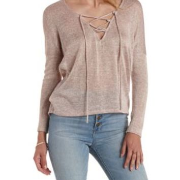 Oatmeal Lace-Up High-Low Sweater Knit Top by Charlotte Russe