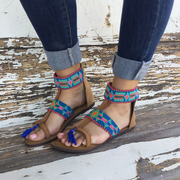 Z&L Beaded Sandals with Tassels