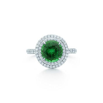 Tiffany & Co. - Tiffany Soleste® ring in platinum with diamonds and a tsavorite.