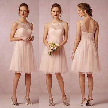 Cute Short Light Pink/Blush Bridesmaid Dresses Cheap Empire Tulle Bridesmaid Dress Sexy Pleat Women Wedding Guest Gowns B65