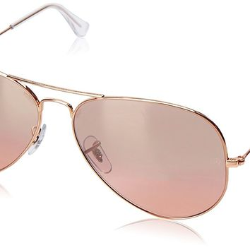 Ray-Ban AVIATOR LARGE METAL - GOLD Frame CRYS.BROWN-PINK SILVER MIRROR Lenses 62mm Non-Polarized