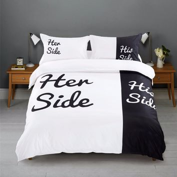 """""""Her Side His Side"""" 3pcs Contains 1 duvet cover and 2 pillow cases USA CA Full Queen size bedding European Queen King bed linen"""