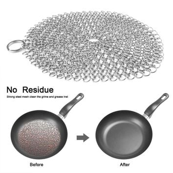 Kitchen Cleaning Tools Stainless Steel Chainmail Scrubber Rust Proof Scraper Cast Iron Cleaner for Pots Skillets Pans BBQ Grills