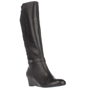 GB35 Dafnee Knee High Wedge Boots, Black, 9.5 US