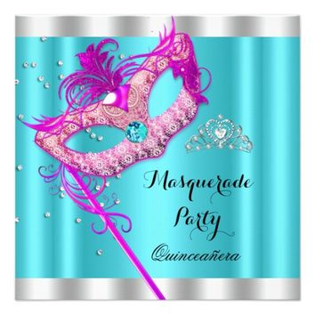 Teal Pink Masquerade Quinceanera Party Mask