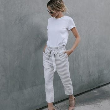 Poised & Proper Striped Pocketed Tie Pants