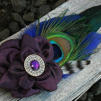 Peacock Purple Blue and Striped Feather Hair Clip with Purple Flower, Feather Hair Clip, Flower Hair Clip,