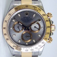 NEVER WORN Rolex Cosmograph Daytona Gold Steel Silver Dial 116523 - WATCH CHEST