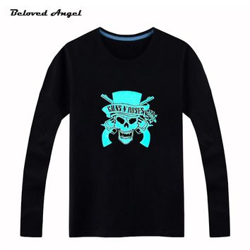 Beloved Angel New Design 100% Cotton Boys Girls T Shirt Kids Long Sleeves Tops Neon Print Shine Blu-ray Children Tees