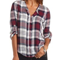 Plaid Flannel Pullover Tunic Top by Charlotte Russe - Blue Combo