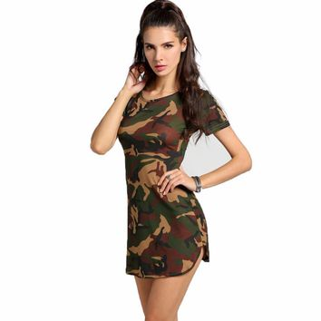 Sexy Bandage Camouflage Women Dress Bodycon Camo Tunic Clothing Clothes Female Vestidos Vestido De Festa Robe Femme Kleider 2016