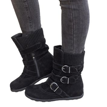 Women Suede Round Toe Zipper Flat Pure Color Buckle Strap Keep Warm Snow Boots