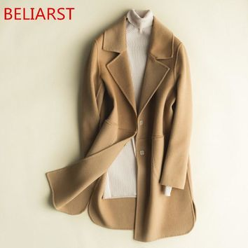 BELIARST and Winter Double-Sided Pure Cashmere Coat Woman Jacket Long Loose Wool Suit Collar New Pure Color Cardigan