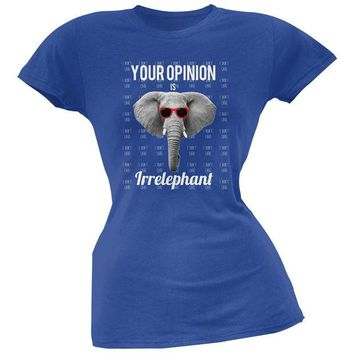LMFCY8 Paws - Elephant Your Opinion is Irrelephant Royal Soft Juniors T-Shirt